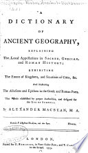 A Dictionary Of Ancient Geography