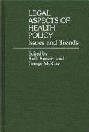 Legal Aspects Of Health Policy Book PDF