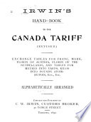 Hand book to the Canada Tariff