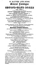 W  Baynes and Son s General Catalogue of Second hand Books for 1821