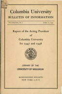 Report of the President of Columbia University for