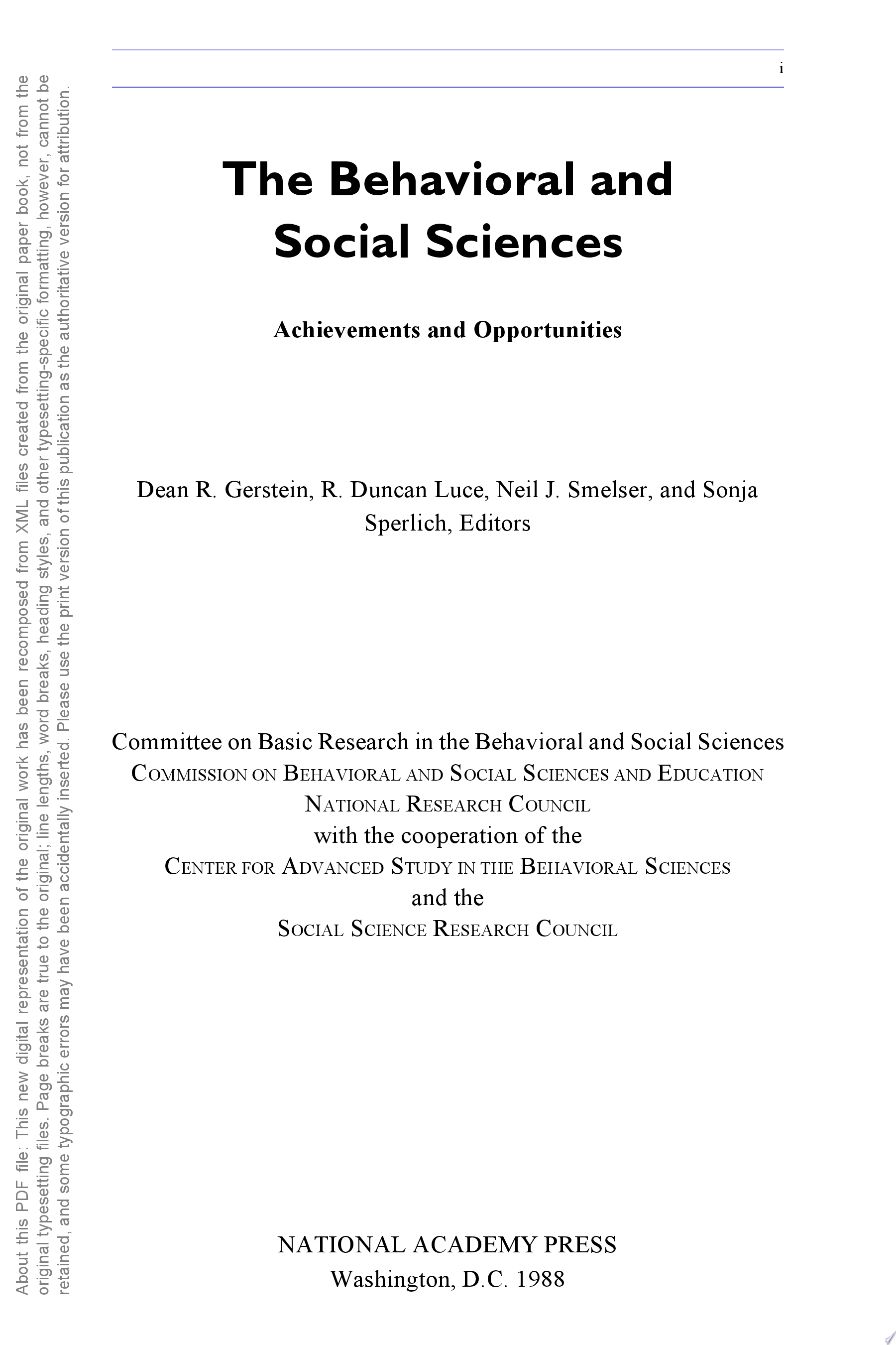 The Behavioral and Social Sciences