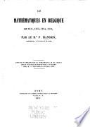 Les mathématiques en Belgique en 1871, 1873, 1874, 1875
