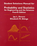 Student Solutions Manual for Probability and Statistics for Engineering and the Sciences, Fourth Edition