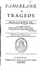 Tamerlane     The sixth edition