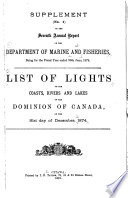 List Of Lights And Fog Signals On The Coasts Rivers And Lakes Of The Dominion Of Canada 1874 1878 1880
