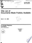 Title List Of Documents Made Publicly Available Book PDF