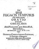 De Usu Fugacis Temporis Rit Observando Oratio