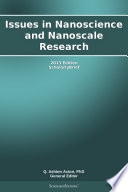 Issues in Nanoscience and Nanoscale Research  2013 Edition Book