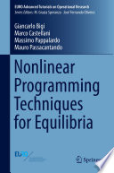 Nonlinear Programming Techniques For Equilibria Book PDF