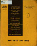 Characteristics of State Public Assistance Plans Under the Social Security Act