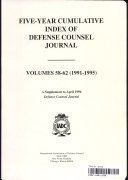 FIVE YEAR CUMULATIVE INDEX OF DEFENSE COUNSEL JOURNAL