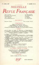 La Nouvelle Nouvelle Revue Française N' 52 (Avril 1957)
