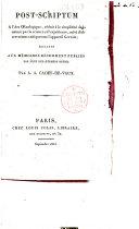 Post-scriptum à l'art oenologique, réduit à la simplicité de la nature par la science et l'expérience, suivi d'observations critiques sur l'appareil Gervais