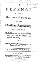 Pdf A Defence of the Religion of Nature and the Christian Revelations