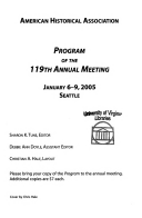 Program of the Annual Meeting   American Historical Association Book PDF