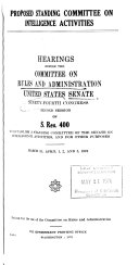Hearings, Reports and Prints of the Senate Committee on Rules and Administration
