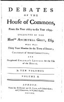 Debates of the House of Commons  from 1667 to 1694