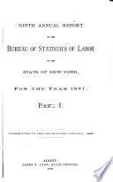 Annual Report of the Bureau of Statistics of Labor of the State of New York for the Year ...