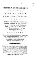 Contra-aantekening betreffende de zaak van Professor J. J. le Sage ten Broek