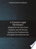 A Concise Legal Dictionary
