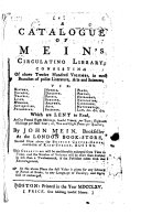 A Catalogue Of Mein S Circulating Library