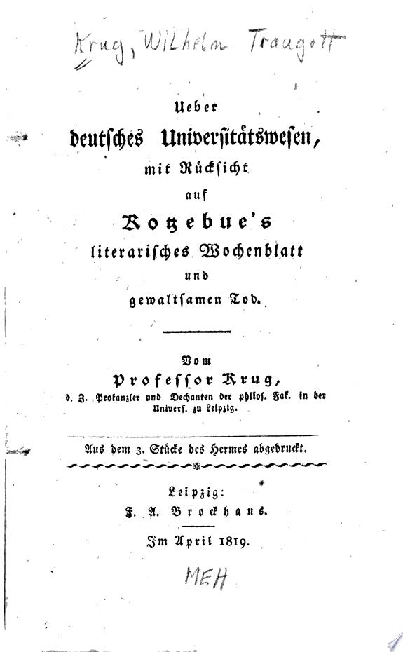 Ueber deutsches Universit  tswesen