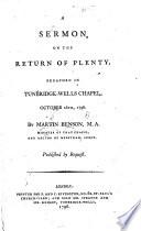 A Sermon on the Return of Plenty, etc