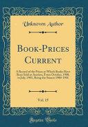 Book Prices Current  Vol  15