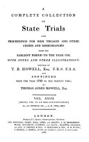 A Complete Collection of State Trials and Proceedings for High Treason and Other Crimes and Misdemeanors from the Earliest Period to the Year 1820. (etc.) ebook