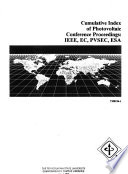 Cumulative Index of Photovoltaic Conference Proceedings