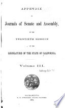 Appendix to the Journals of the Senate and Assembly Book