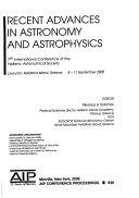 Recent advances in astronomy and astrophysics
