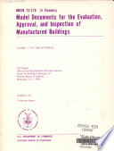 Model Documents for the Evaluation, Approval, and Inspection of Manufactured Buildings
