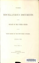 Miscellaneous Documents of the Senate of the United States for the Third Session of the Fifty third Congress