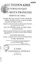 Dictionnaire étymologique des mots françois dérivés du grec