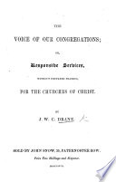 The Voice of Our Congregations  Or Responsive Services     for the Churches of Christ