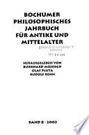 Bochumer philosophisches Jahrbuch für Antike und Mittelalter