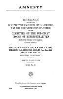 Amnesty: Hearings Before the Subcommittee on Courts, Civil ...