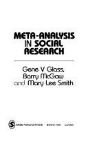 Meta Analysis in Social Research