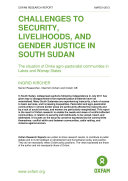 Challenges to Security  Livelihoods  and Gender Justice in South Sudan