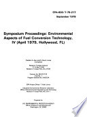 Symposium Proceedings  Environmental Aspects of Fuel Conversion Technology  IV  April 1979  Hollywood  FL  Book