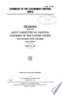 Oversight of the Government Printing Office
