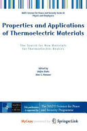 Properties and Applications of Thermoelectric Materials Book