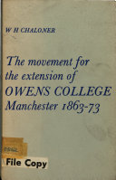 Pdf The Movement for the Extension of Owens College, Manchester, 1863-73