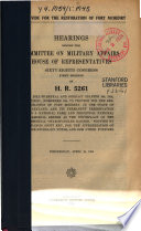 To Provide for the Restoration of Fort McHenry  Hearings      on H R  5261      April 16  1924