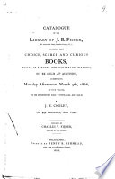 Catalogue Of The Library Of J B Fisher Of Austerfield Farm Camden County N J