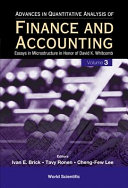 Advances in Quantitative Analysis of Finance and Accounting  Volume 3