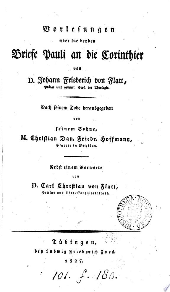 Vorlesungen   ber die beyden Briefe Pauli an die Corinthier  herausg  von C D F  Hoffmann