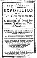 The Law Unsealed  Or  a Practical Exposition of the Ten Commandments     The Third Edition Revised and Corrected  to which are Prefixed the Commendatory Epistle of     Dr  Owen and Mr  Jenkyn  Etc